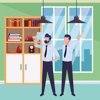 Empresarios socios con documentos