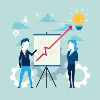 Empresarios y socios con pizarrón con crecimiento.