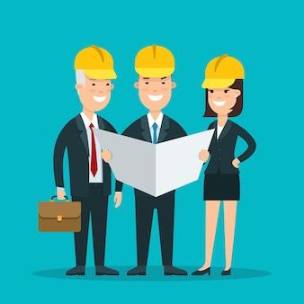 Empresarios sonrientes planos en cascos que estudian el documento del proyecto