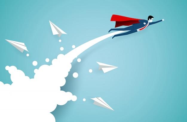 Empresarios de superhéroes exitosos vuelan hacia el cielo, separados del avión de papel blanco.