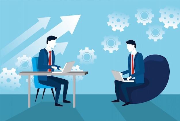 Empresarios con tecnología portátil y estrategia de engranajes.