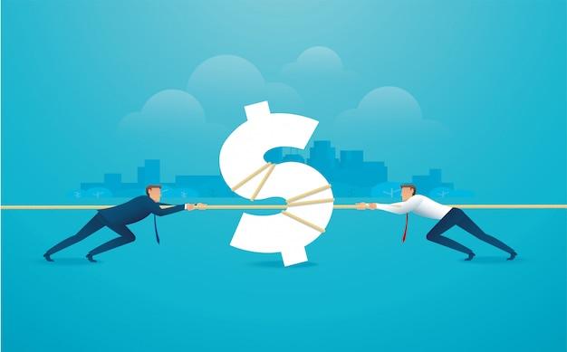 Los empresarios tiran de la cuerda con el icono de dinero