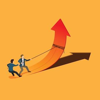 Los empresarios trabajan para el símbolo de la flecha hacia arriba del éxito