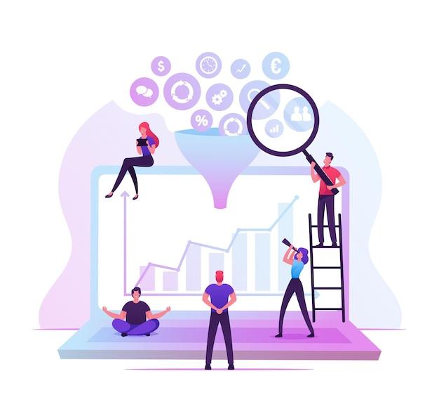 Empresarios trabajando alrededor de una enorme computadora portátil con diferentes iconos de negocios cayendo a través del embudo. ilustración plana de dibujos animados