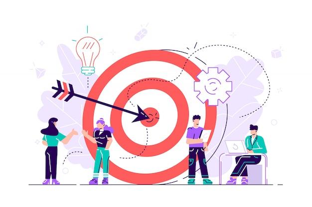 Empresarios trabajando y mujer en gran objetivo con flecha. metas y objetivos, negocios crecen y plan, concepto de establecimiento de metas sobre fondo blanco. ilustración aislada violeta vibrante plana brillante