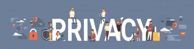 Empresarios trabajando en plantilla de banner de privacidad