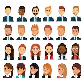 Empresarios trabajo en equipo avatar conjunto ilustración