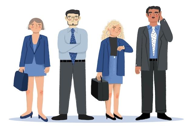 Empresarios en trajes y faldas