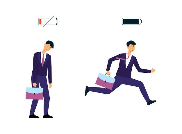 Empresarios u hombres con niveles de carga de la batería vector plano aislado en blanco
