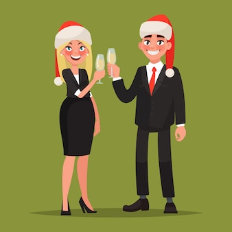 Empresarios vestidos con sombreros de navidad felicitan por las vacaciones. hombre y mujer con copas de champagne. ilustración