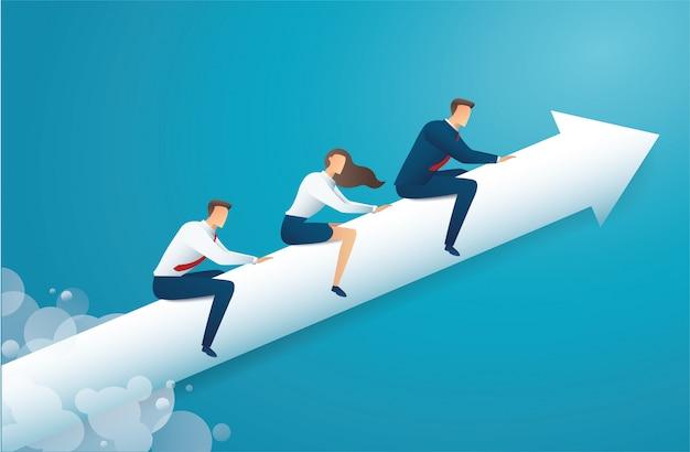 Los empresarios viajan en flecha y fondo azul