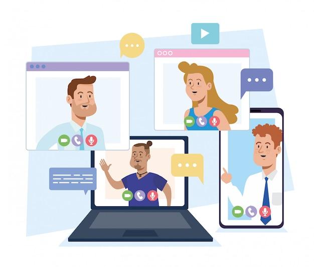 Empresarios videollamadas conferencia chat para trabajo en equipo