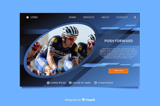 Empuje hacia adelante la página de aterrizaje deportiva