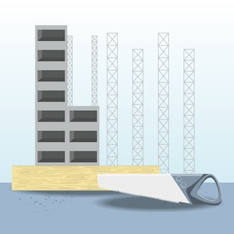En construcción construcción y herramienta de sierra