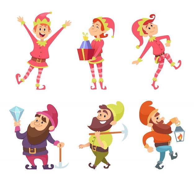Enanos y elfos. divertidos personajes de cuento de hadas en poses dinámicas