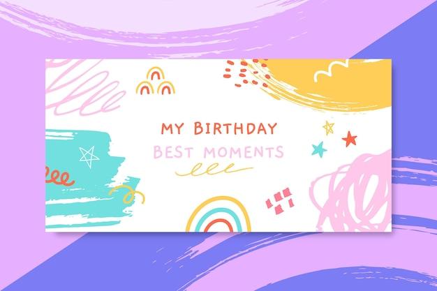 Encabezado de blog de cumpleaños infantil pintado abstracto