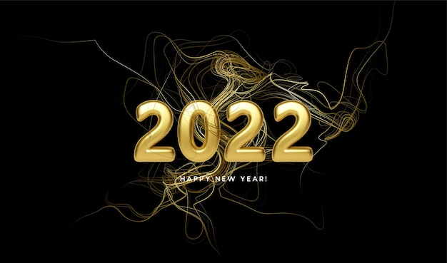 Encabezado de calendario 2022 con remolino de ondas doradas con destellos dorados sobre fondo negro. feliz año nuevo 2022 fondo de ondas doradas. ilustración de vector eps10