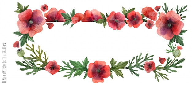 Encabezado de flores de amapola