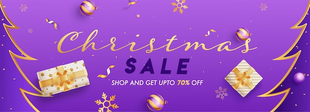 Encabezado o pancarta de navidad con una oferta de descuento del 70%, cajas de regalo y adornos decorados en púrpura.