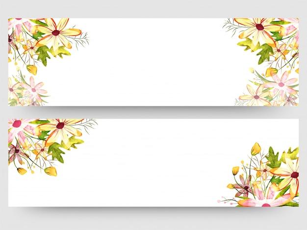 Encabezado de página web o banner con coloridas acuarelas florales.