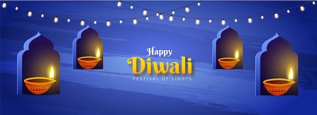 Encabezado del sitio web o diseño de banner con lámparas de aceite iluminadas (diya) en el arco de la ventana para el festival de las luces, celebración happy diwali.