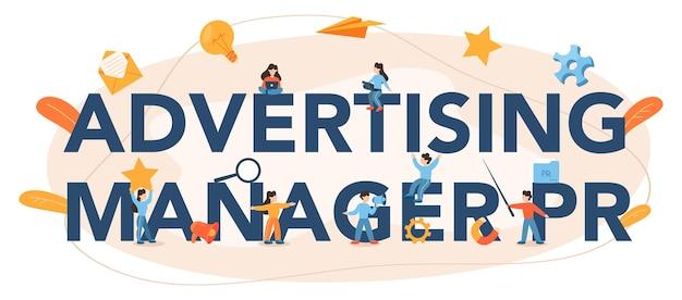 Encabezado tipográfico del administrador de anuncios