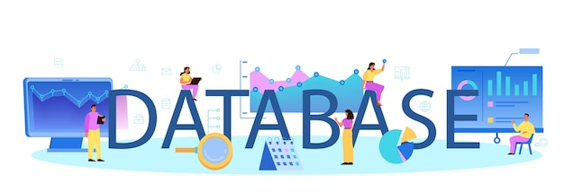 Encabezado tipográfico de la base de datos. personaje femenino y masculino que trabaja en el centro de datos.