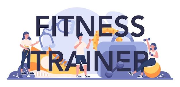 Encabezado tipográfico de entrenador de fitness. entrenamiento en el gimnasio con deportista profesional.