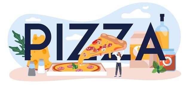Encabezado tipográfico de pizza
