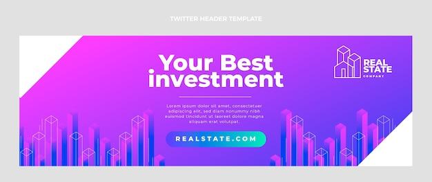 Encabezado de twitter de bienes raíces degradado