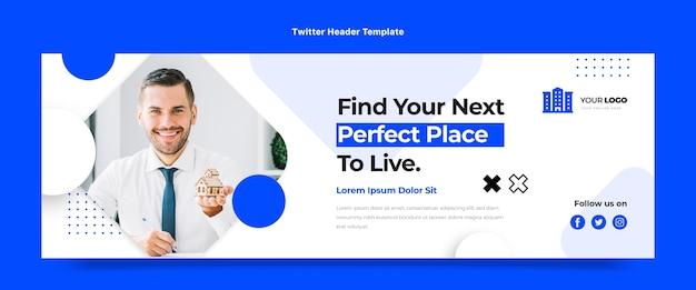 Encabezado de twitter de bienes raíces geométricos abstractos de diseño plano