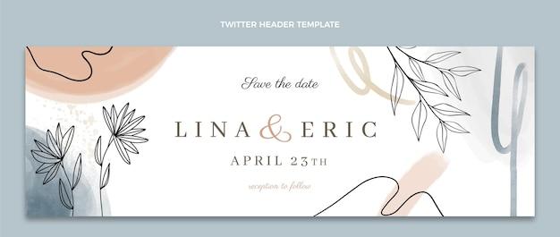 Encabezado de twitter de boda dibujado a mano en acuarela