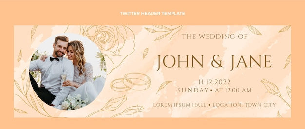 Encabezado de twitter de boda dibujado a mano