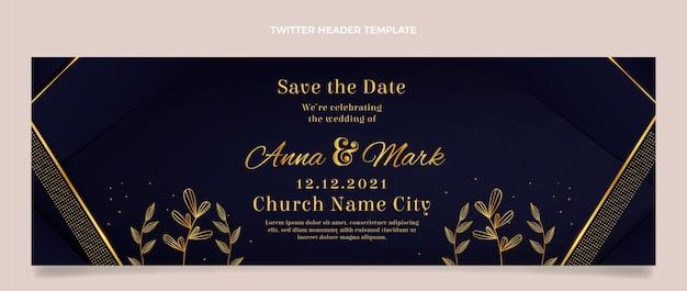 Encabezado de twitter de boda dorada de lujo realista