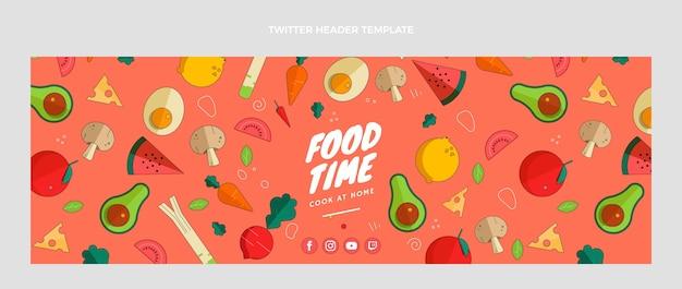 Encabezado de twitter de comida de diseño plano