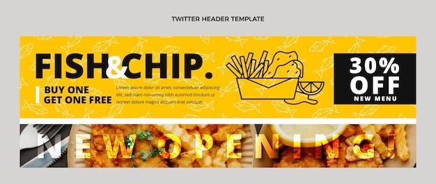 Encabezado de twitter de comida de pescado y patatas fritas de diseño plano