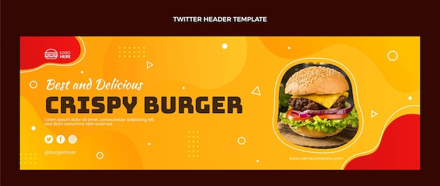 Encabezado de twitter de comida plana