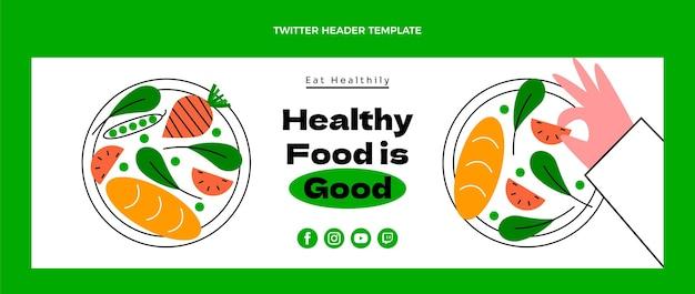 Encabezado de twitter de comida saludable plana
