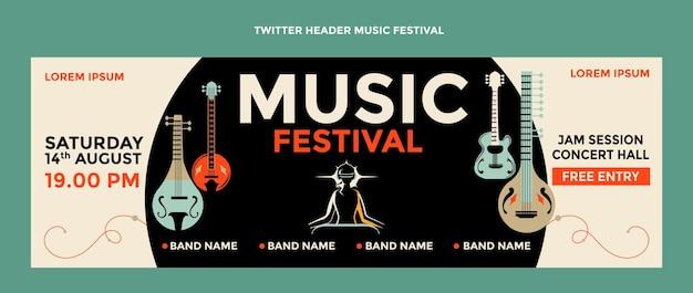 Encabezado de twitter del festival de música colorido dibujado a mano