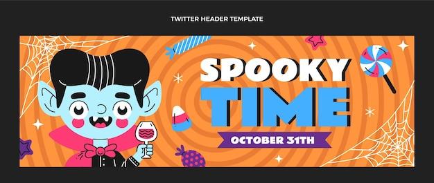 Encabezado de twitter de halloween de diseño plano dibujado a mano