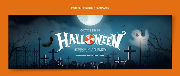 Encabezado de twitter de halloween realista