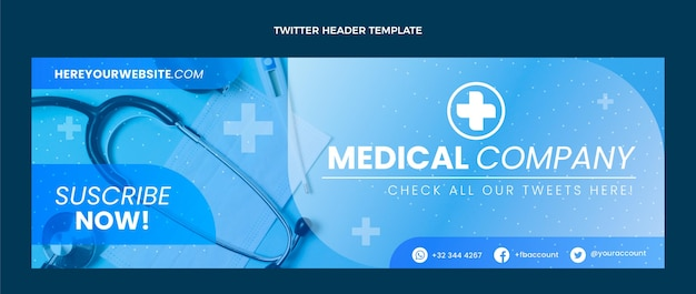 Encabezado de twitter médico degradado