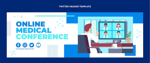 Encabezado de twitter médico de diseño plano
