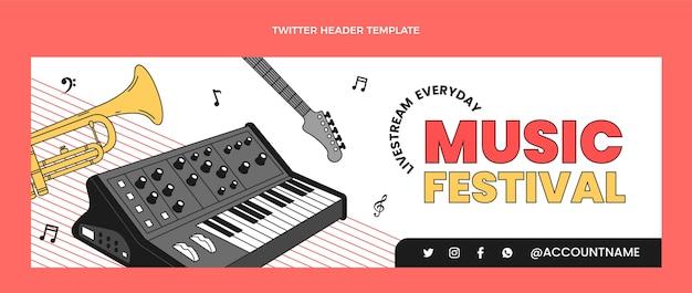 Encabezado de twitter minimalista plano del festival de música