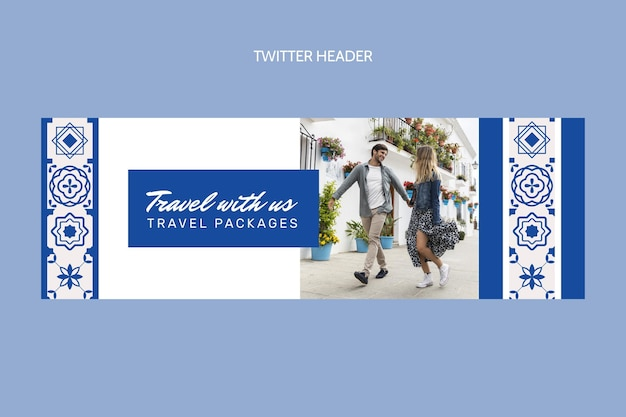 Encabezado de twitter de viaje plano