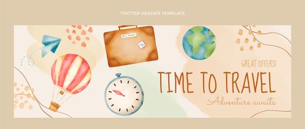 Encabezado de twitter de viajes en acuarela