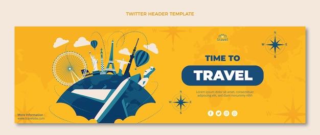 Encabezado de twitter de viajes dibujado a mano