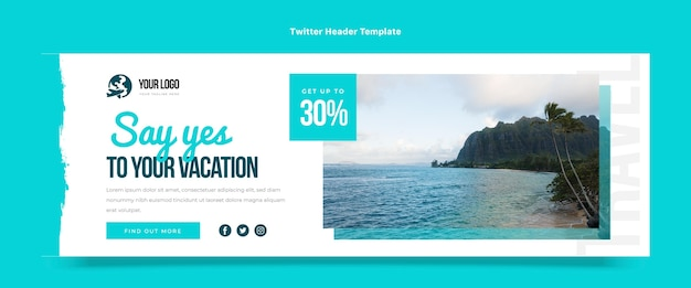 Encabezado de twitter de viajes de diseño plano