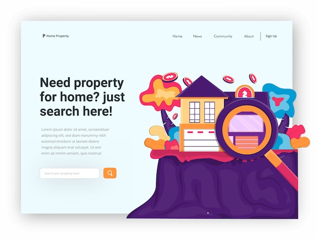 Encabezado web de la propiedad de inicio