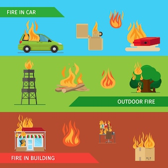 Encabezados horizontales de riesgo de incendio.
